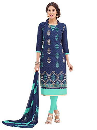 EthnicJunction Women\'s Party Wear Cotton Jacquard Churidar Embroidered Unstitched Dress Material (Midnight Blue,EJ1125-42)