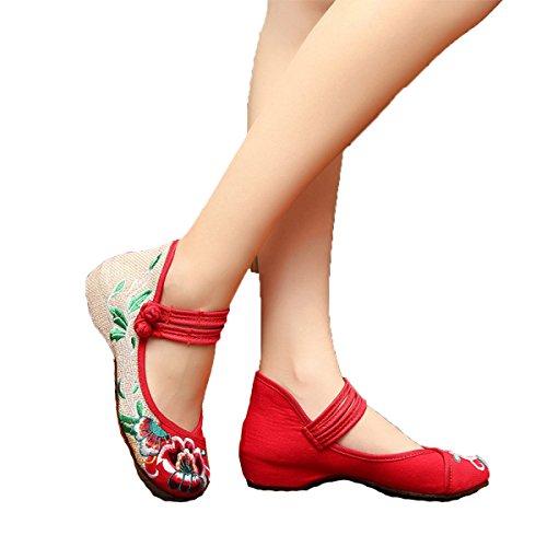 Mme Hibiscus D'été De Fleurs Pour Aider Les Chaussures Basses En Tissu Brodé CHT Red