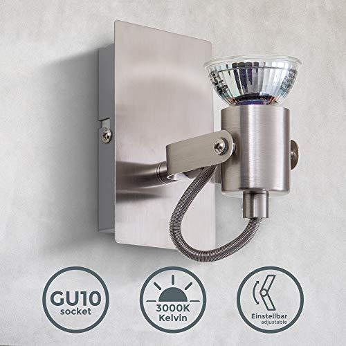 Lámpara led de pared orientable incl. 1 luz de 5W GU10, lámpara de techo led, lámpara de pared foco...