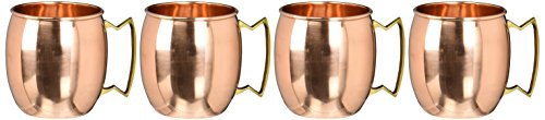 Barrel Copper Moscow Mule Mug Handmade of 100% Pure Copper, Brass Handle Plain Moscow Mule Mug / Cup 16 Ounce,set Of-4, by CGP 16 Oz Barrel Mug
