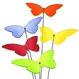 """SUNPLAY Sonnenfänger """"Schmetterlinge Isabelle"""" im FARBMIX, 5 Stück zu je 20 cm Durchmesser im Set + 70 cm Schwingstäbe"""
