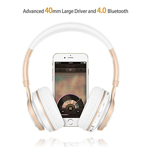 Bluetooth Over-Ear Kopfhörer, EONANT 4 in 1 BT-08 4.0 Bluetooth Wireless Headset Faltbarer Kopfhörer mit Mikrofon mit Mikrofon / FM / TF Karte / AUX für PC TV Smart Phones & Tablets (White-Gold) - 3