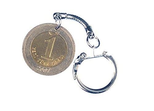 Preisvergleich Produktbild Türkische Lira Schlüsselanhänger Miniblings Geld Münze Türkei golden intern