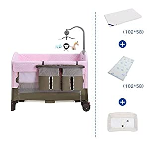 ZXCVB Crib Travel Multifunctional Crib Travel Cots with Mattress Ice Silk Mat Diaper Table Game Bed Portable Folding Suitable for Children Up to 36 Months   3