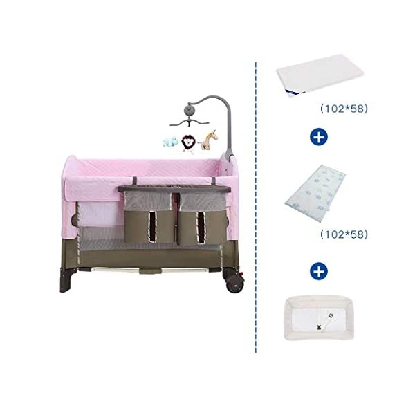 ZXCVB Crib Travel Multifunctional Crib Travel Cots with Mattress Ice Silk Mat Diaper Table Game Bed Portable Folding Suitable for Children Up to 36 Months ZXCVB 【MATERIAL】High quality PP plastic,alloy steel pipe,environmentally friendly TD cloth,breathable mesh, soft and comfortable, free of paint formaldehyde, wear-resistant, dirt-resistant, durable, care for your baby's body and healthy growth 【size】110*65*70cm 【2-IN-1 BABY TRAVEL COT】There are two layers on this baby travel bed, the top layer is suitable for feeding and resting, and the bottom layer is ideal for crawling or learning to walk. You can use our infant cot in various kinds of places according to your different needs. 1