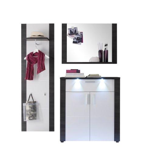 trendteam XP91810 Garderobe Garderoben Set 3-teilig Set Esche grau Nachbildung, Fronten weiß Nachbildung, BxHxT 162x184x38 cm