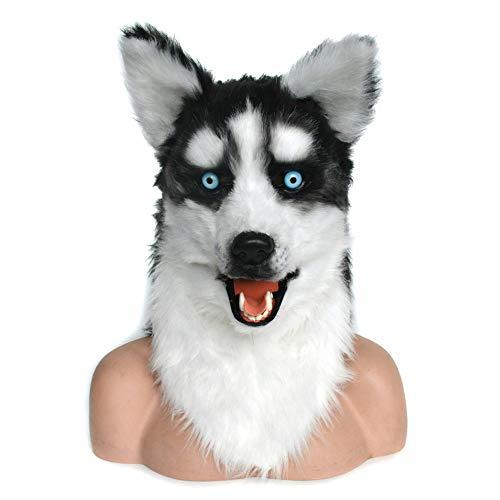 XIANCHUAN Naturalistic Handmade Customized Cosplay Bewegliche Mundmaske Husky Dog Simulation Haarige Kreatur Atmungsaktive Halloween Maske Kopf Kostüm Schwarz (Husky Dog)
