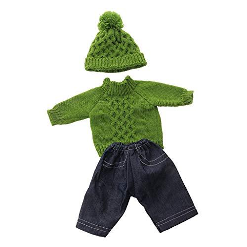 Fenteer Mode Puppen Weihnachtskostüm Kleid, Pullover, Minirock, Jeans, Beanie Mütze Kleidung Set Für 18 Zoll Puppen Dress Up Zubehör - B