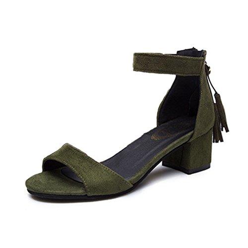 Damen Sandalen Nubukleder Schnalle Blockabsatz Knöchelriemchen Troddel Retro Anti-Rutsche Einfache Römersandaletten Grün