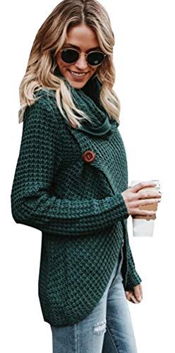Verde cardigan maglia donna elegante maglioni aperti invernali pullover tops manica lunga maglioncino femminili maglione giacca felpa irregolare casual sweater cappotto con bottoni m