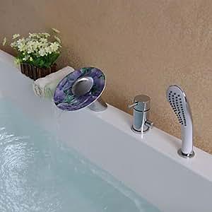 BBO chrom Moderne Drei Löcher Einhand-Wasserhahn für Badewanne mit Dusche Handtasche