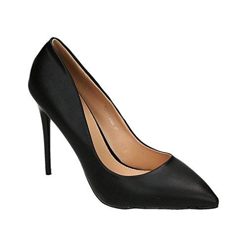 Klassische Damen Stilettos Pumps High Heels Plateau Schuhe Spitz Bequem 25 Schwarz