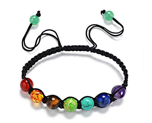 Sieben Farbe Rainbow Chakra Armband Behandlung Reiki schwierigen ausgewogene Perlen Yoga Reiki Gebet Stein Leinen Seil, mehrschichtige Perlen Armband Zubehör Hand Halskette Schmuck, Spitze, siehe abbildung, 8mm*7 beads (8 Spitzen Abbildung)