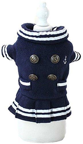 �dchen Hund Katze weich Fleece Nautisch Matrose Jacke Kostüm Kleid Outfit Winterbekleidung Kleidung XS-XL - Blau, Medium ()
