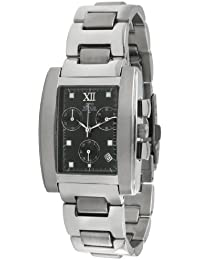 gino franco Men's 979BK Stainless Steel Chronograph Watch