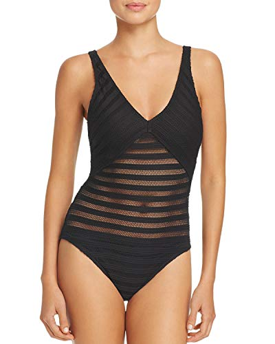 Lauren Ralph Lauren Ottoman V-Ausschnitt Einteiler Badeanzug schwarz Größe 44 -