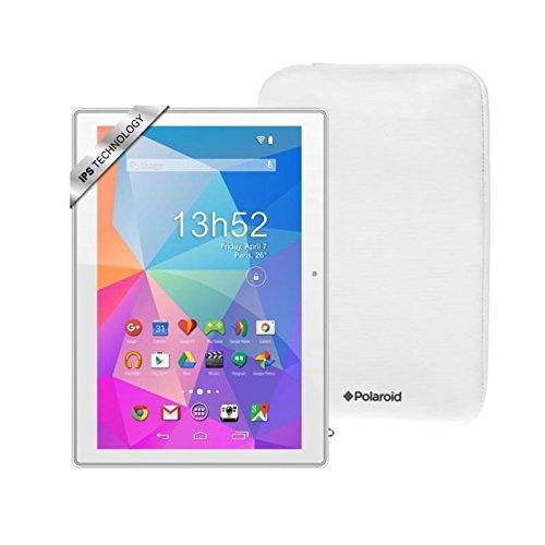Polaroid tablette tactile pure 10,1 ips - ram 1go -quadri coeur - android 6.0 - stockage 16go + housse - blanc