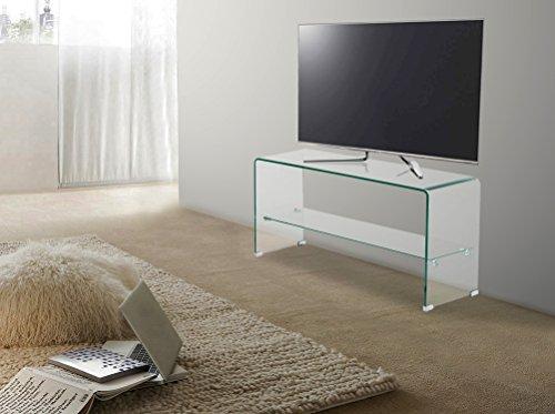 Trendyitalia 10548 tavolino porta tv vetro trasparente 42x40x80 cm 1 unit negozio di tavolini - Porta televisore in vetro ...
