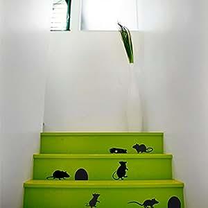 Stickers muraux Souris échelle Escalier vinyle autocollant Décor Murale Peintures murales famille Decor vk45