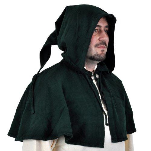 GUGEL ZIPFEL KAPUZE MITTELALTER BAUER LANDKNECHT LARP GOTHIC-5001 dunkelgrün (Kind Renaissance Bauer Kostüme)