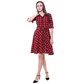 6c7239ae8e213 Zarkons Check Cotton Dress with Belt  Amazon.in  Clothing   Accessories