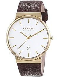 Skagen Herren-Armbanduhr Analog Quarz Leder SKW6142