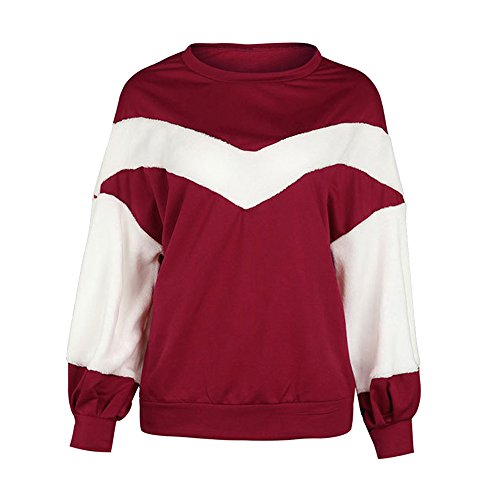Vertvie Femme Sweat-Shirt Col Rond Patchwork Polaire Top Crop Blouse Pullover Casual Rouge Vineux