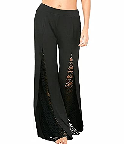 Minetom Femme Été Elégant Dentelle Fendue Pantalons Jambe Large Casual Noir Stretch Elastique Extensible Palazzos Yoga Sarouels Noir EU