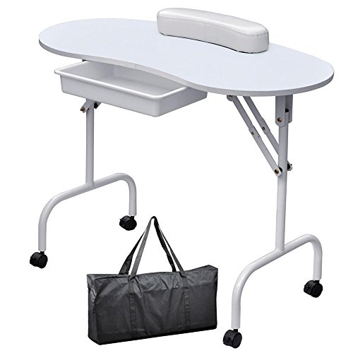 Yaheetech Manicure Table Nail Technician Workstation Art Desk with Drawer + Carry Bag + Wrist Rest Test