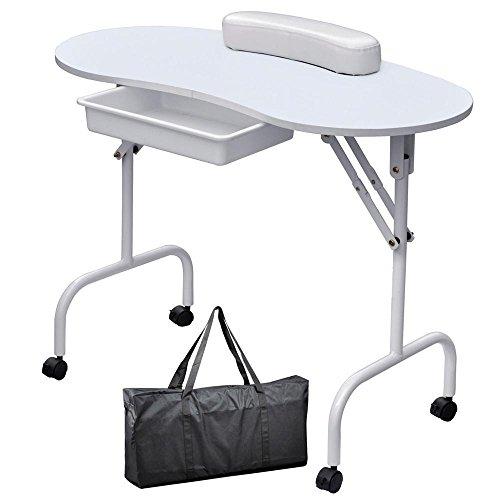 Yaheetech Table de manucure pliables sur roulettes transportable avec sac de transport/tiroir de...