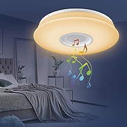 EASYmaxx 3460 LED-Deckenleuchte Lampe, Partyleuchte & Bluetooth®-Lautsprecher 18W Weiß