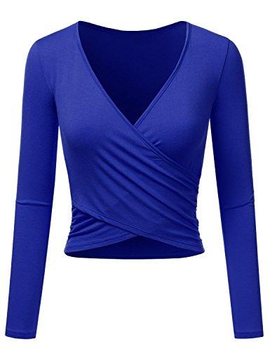 Uniquestyle Frauen Langarm Party Oberteil Tief V-Ausschnitt Crop Tops Slim Fit Shirt Bluse Obertail mit Rüschen Royalblau M - Blaue Rüschen Shirt