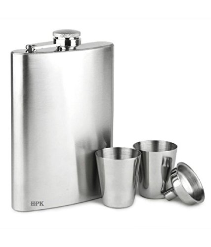 Bar Accessories-HPK REGISTERED BRAND BOX PACKED BIG HIP FLASK SET WITH FUNNEL AND SHOT GLASSES