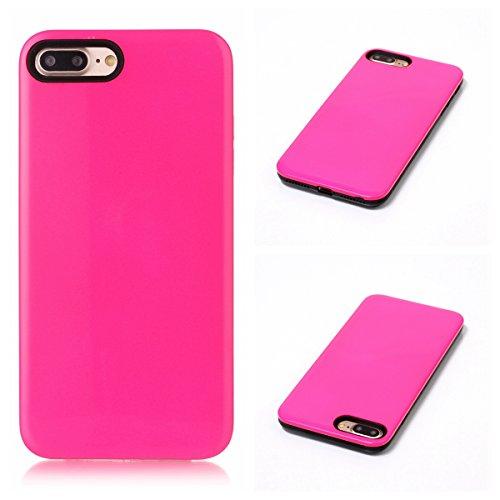 Voguecase® für Apple iPhone 7 Plus 5.5 hülle, Schutzhülle / Case / Cover / Hülle / TPU Gel Skin (Marmor/Schwarz) + Gratis Universal Eingabestift 2-in-1 PC+TPU/Rosa