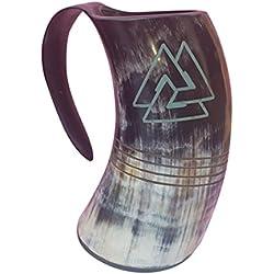 Jarra grande de cerveza, de Odín, de cuerno 100% natural y diseño con motivos de estilo vikingo