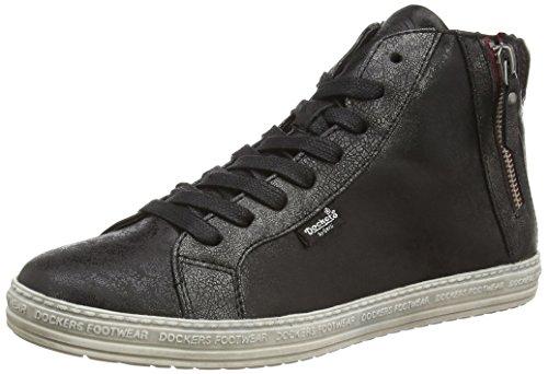 Dockers by Gerli 32LN213, Sneaker alta donna, Nero (Schwarz (schwarz/silber 155)), 39