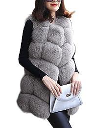 BAINASIQI Mujer Abrigo sin Mangas Chaleco Largo Delgado Outwear Faux Fox  Fur Elegante Chaqueta Abrigo e3a8a239dcad