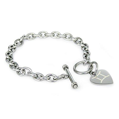acciaio-inossidabile-gemelli-simbolo-di-astrologia-heart-charm-braccialetto-solo