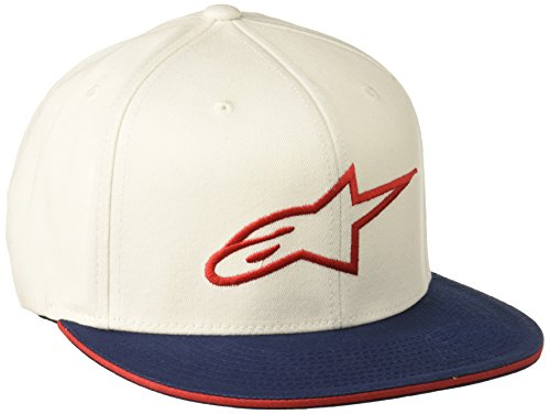 Alpinestars Herren Ageless Logo Flat Bill Flex Back Hat, White/Red, LXL -
