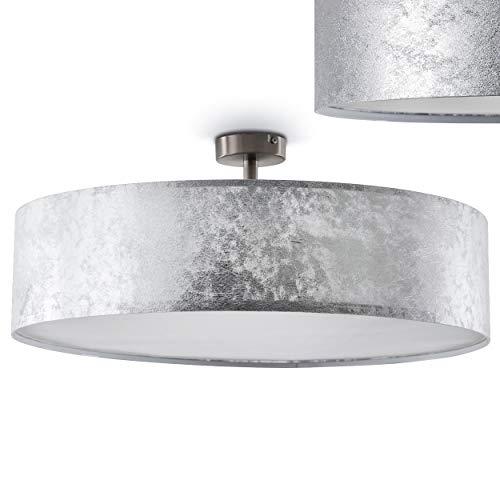 Foggia Deckenlampe mit silbernem Stoffschirm – moderne Deckenlampe mit textilem Lampenschirm - Ø 60 cm - Zimmerlampe für Wohnzimmer, Flur, Dielen, Schlafzimmer, Küche - LED-fähig - 3x E27-40 Watt