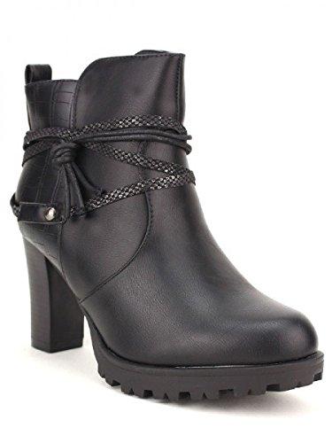 Cendriyon, Bottines Noires SANTINE Mode Chaussures Femme Noir
