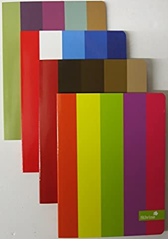 Silvine A5 notebook coloured multi stripes colour rainbow assorted designs x 1 single book