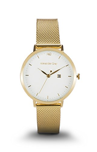 ALEXANDER GRAY Damenuhr PRAG - Vergoldete Armbanduhr mit ultraleichtem Mesh-Armband und eierschalenweißem Zifferblatt – minimalistischer Zeitmesser für jeden Anlass