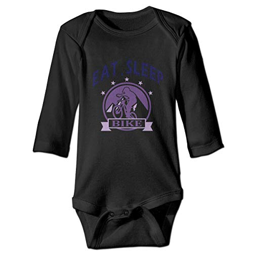 Eat Sleep Bike-1 Neugeborenes Mädchen Jungen Kind Babyspielanzug Langarm Kleinkind T-Shirts(6M,Schwarz) -
