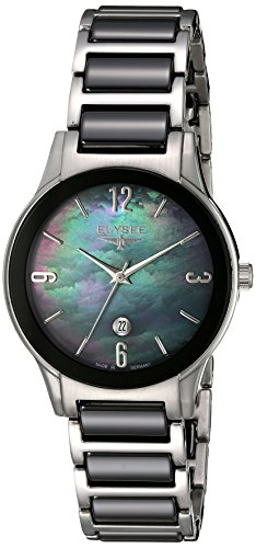 ELYSEE Women's Kim 32mm Multicolor Ceramic Band Steel Case Sapphire Crystal Quartz MOP Dial Watch 30021