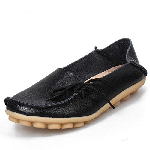 Promotionen UFACE Peas Schuhe Krankenschwester Schuhe mit Sehne Niedrige Hilfe Flache Schuhe Frauen Lederschuhe Loafers Weiche Freizeit Wohnungen (37 EU, Schwarz)
