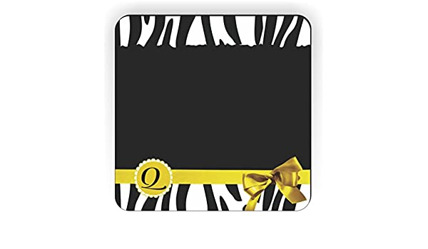 Rikki Knight Letter V Yellow Zebra Bow Monogram Design Square Fridge Magnet