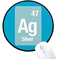 DIYthinker Elemento de plata Ag Química Ciencia Ronda antideslizante tapetes de ratón Negro Titched Bordes Juego