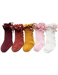 FEOYA Pack de 5 Calcetines Altas para Niñas-Bebé Calcetin Largo con Lazo Medias Rodilla Stockings Sock Leggings Elástico Algodón S-XL Multicolor