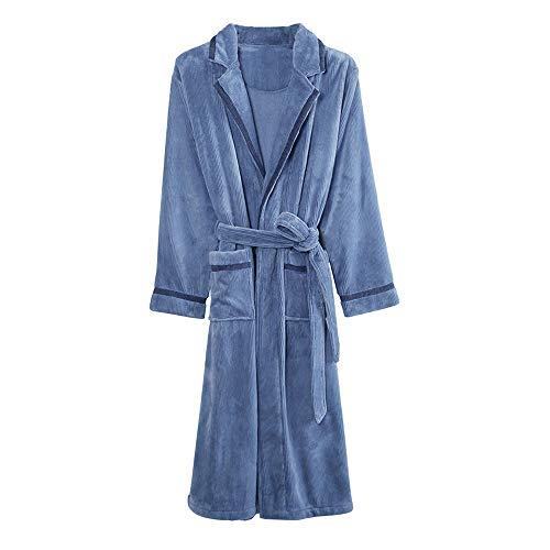 Winter Herren Bademantel Langarm Coral Fleece Maennerschlafanzuege Bademantel Male Kimono Abendkleider Nachtwäsche Homewear,XXXL